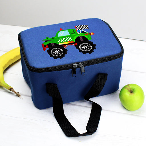 Personalised Monster Vehicle Blue Lunch Bag