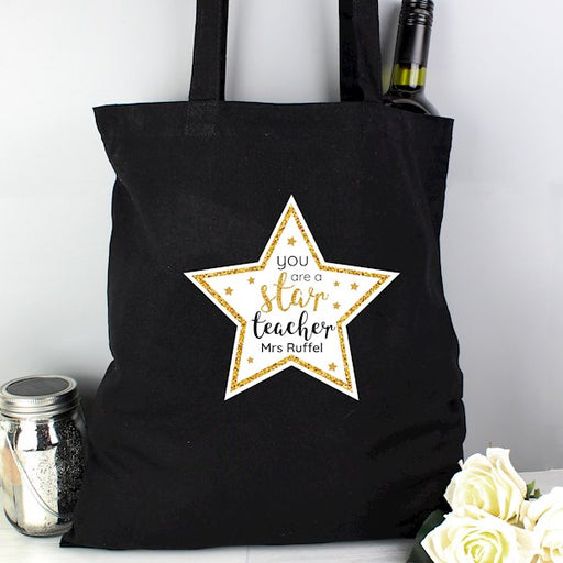 Personalised You Are A Star Teacher Black Cotton Bag