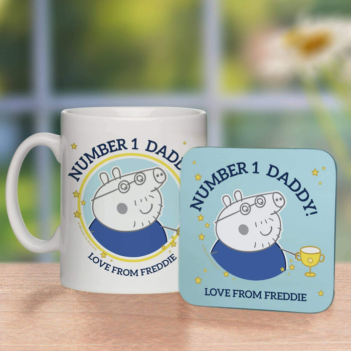 Personalised Peppa Pig™ Number 1 Daddy Mug & Coaster