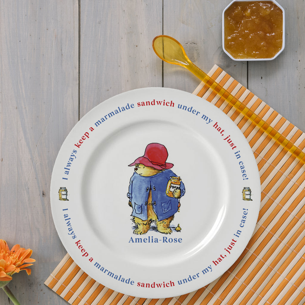Personalised Paddington Bear Marmalade Sandwich Plate