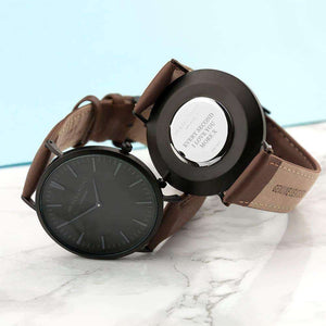 Personalised Modern-Vintage Men's Mr Beaumont Watch With Black Face in Brown,Pukka Gifts