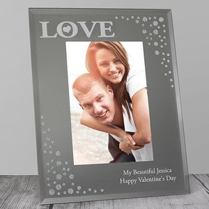 Personalised LOVE Diamante Glass Photo Frame 4x6