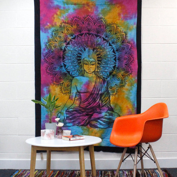 Single Cotton Bedspread + Wall Hanging - Peaceful Buddha