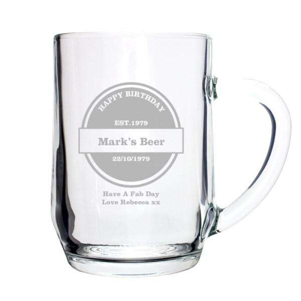Personalised Established Beer Label Tankard Glass from Pukkagifts.uk