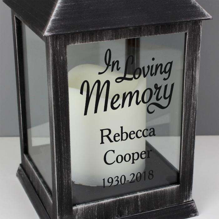 Personalised In Loving Memory Rustic Black Lantern from Pukkagifts.uk