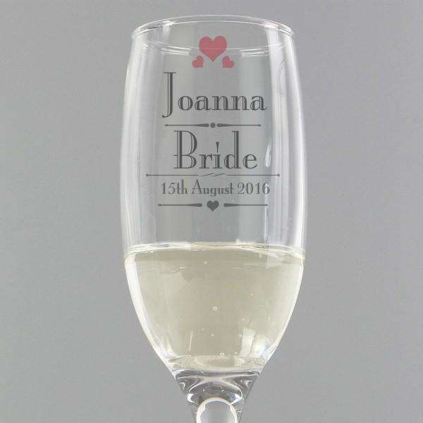 Personalised Decorative Wedding Female Glass Flute from Pukkagifts.uk