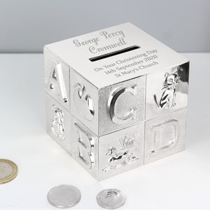 Personalised ABC Silver Money Box