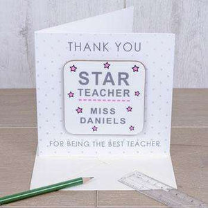 Star Teacher Personalised Coaster Card Free Delivery,Pukka Gifts