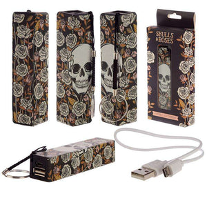 Skull & Roses Portable USB Charger Power Bank from Pukkagifts.uk