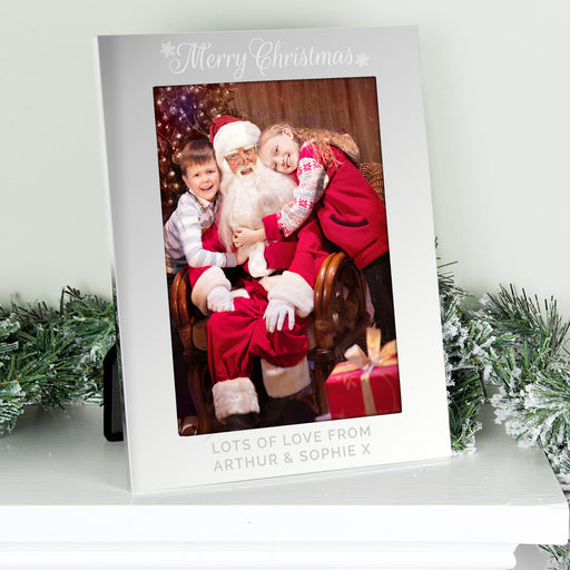 Personalised Merry Christmas Silver 5x7 Photo Frame