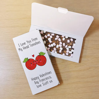 Personalised I Love You From My Head Tomatoes Milk Chocolate Card