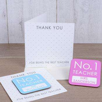 No. 1 Teacher Personalised Coaster Card Free Delivery from Pukkagifts.uk