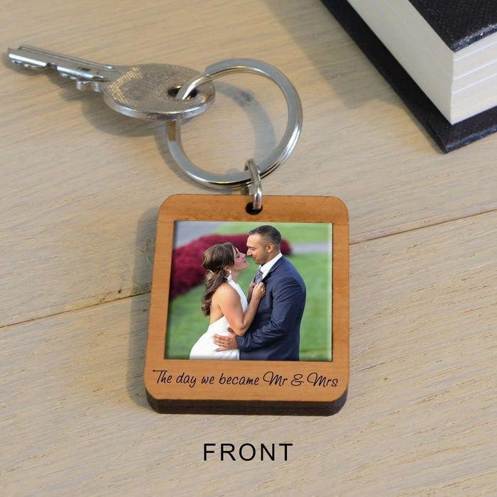 Personalised Upload Photo Wooden Key Ring - The day we became Mr & Mrs from Pukkagifts.uk