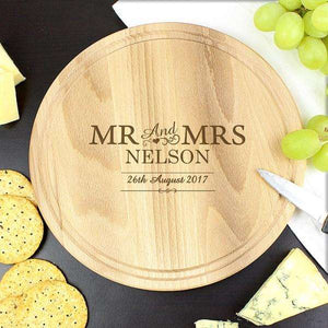 Engraved Mr & Mrs Round Chopping Board,Pukka Gifts