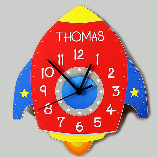 Personalised Rocket Shape Wooden Clock
