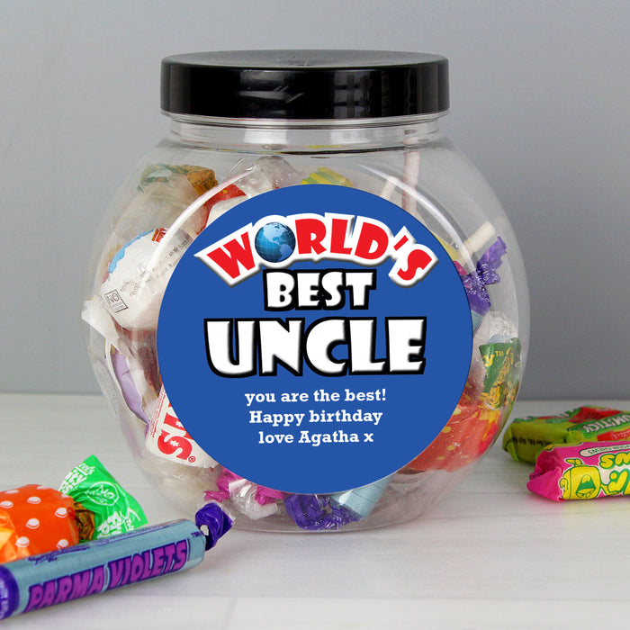 Personalised Blue World's Best Sweet Jar