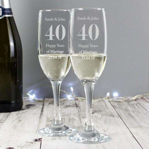 Personalised Anniversary Pair of Flutes with Gift Box,Pukka Gifts