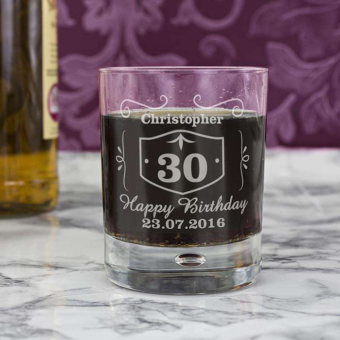 Personalised Birthday Whisky Tumbler Bubble Glass from Pukkagifts.uk