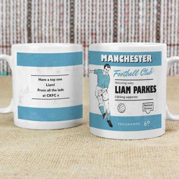 Personalised Vintage Football Sky Blue and White Supporter's Mug from Pukkagifts.uk
