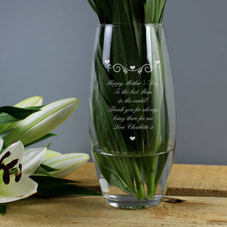Personalised Hearts & Swirls Bullet Vase | Mum | Wedding | Anniversary Gift