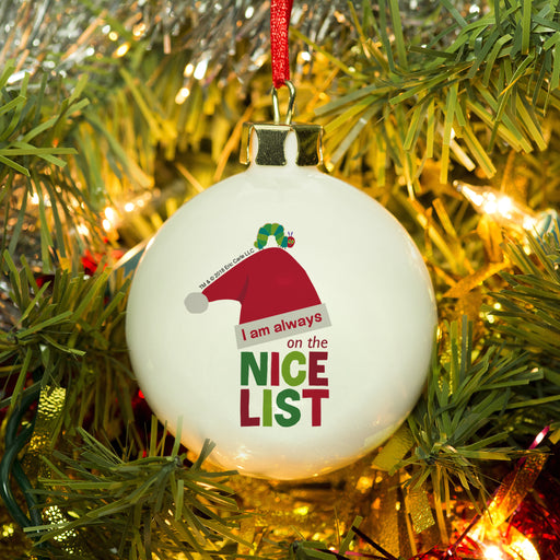 Personalised Very Hungry Caterpillar Nice List Christmas Bauble