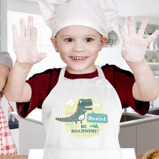 Personalised Dinosaur Children's Apron from Pukkagifts.uk