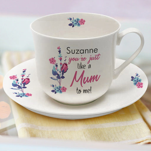 Personalised You're Just Like A Mum To Me Cup & Saucer from Pukkagifts.uk