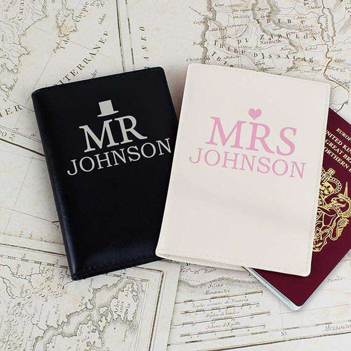 Personalised Mr & Mrs Leather Passport Holders Set from Pukkagifts.uk