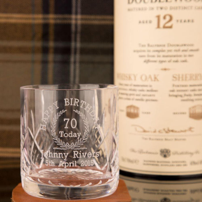 Personalised 70th Birthday Whisky Glass