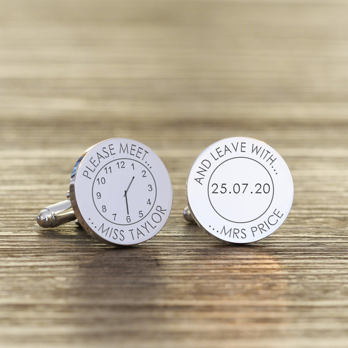 Personalised Please Meet Miss And Leave With Mrs Wedding Cufflinks