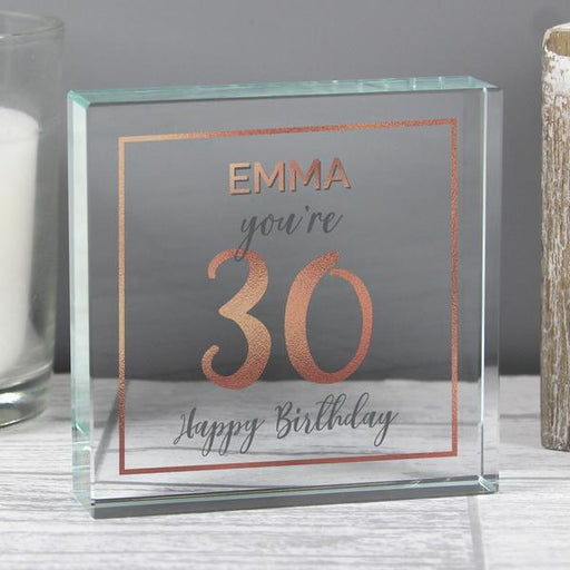 Personalised 30th Birthday Rose Gold Crystal Token from Pukkagifts.uk