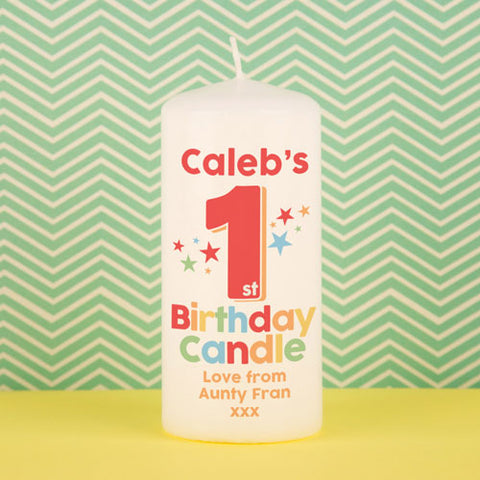 Personalised 1st Birthday Candle from Pukkagifts.uk