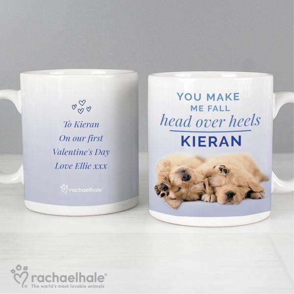 Personalised Rachael Hale Head Over Heels Puppy Mug from Pukkagifts.uk