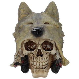 Skull with Wolf Head Decoration