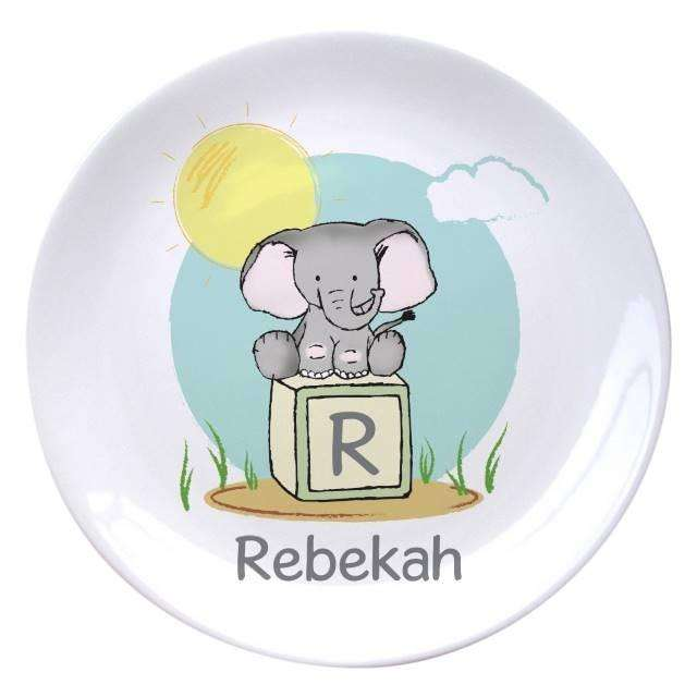 Personalised Elephant Safari 8 inch Plate from Pukkagifts.uk