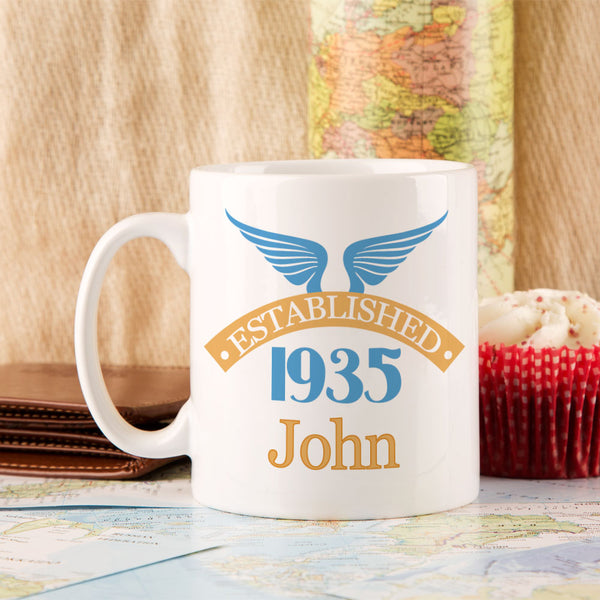 Personalised 80th Birthday Established Since Mug For Him