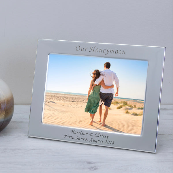 Personalised Engraved Any Message Silver Photo Frame 6x4