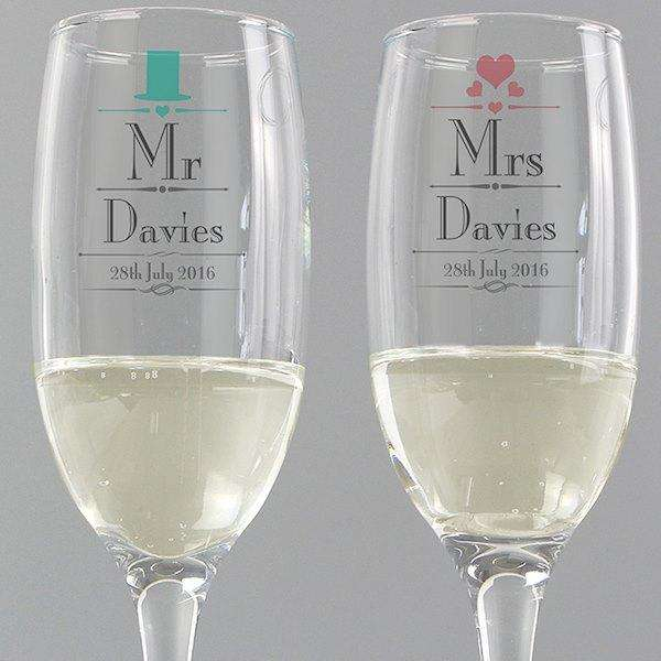 Personalised Decorative Wedding Mr & Mrs Pair of Flutes with Gift Box from Pukkagifts.uk