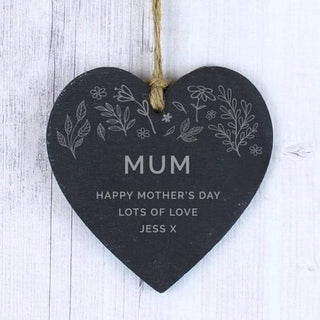 Personalised Floral Small Slate Heart Decoration from Pukkagifts.uk