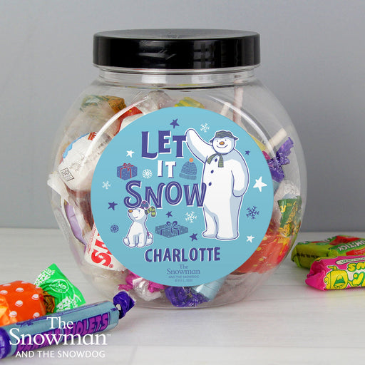 Personalised The Snowman and the Snowdog Christmas Sweet Jar