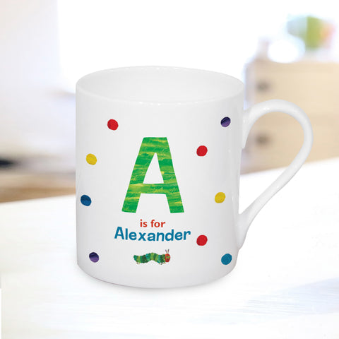 Personalised Very Hungry Caterpillar Spotty Initial Mug