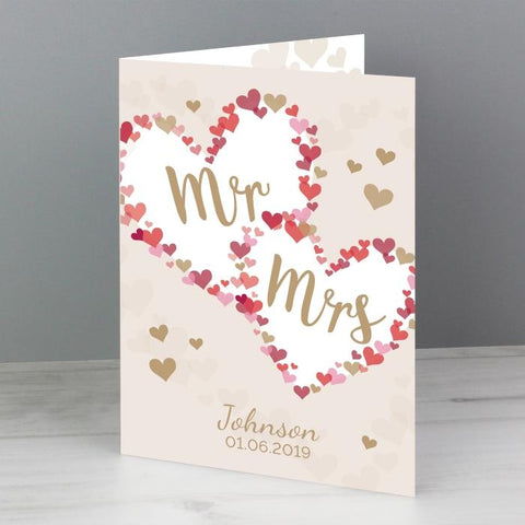 Personalised Mr & Mrs Confetti Hearts Card from Pukkagifts.uk