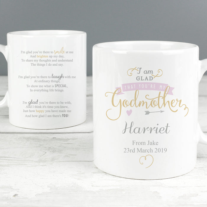 Personalised I Am Glad That You're My Godmother Mug