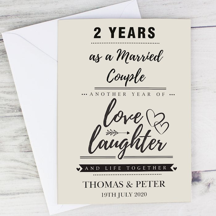 Personalised Love Laughter And Life Together Anniversary Card From Pukkagifts.uk