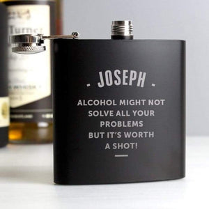 Personalised Any Message Black Hip Flask from Pukkagifts.uk
