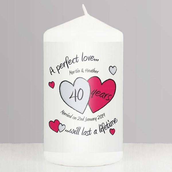 Personalised A Perfect Love Ruby 40th Wedding Anniversary Candle from Pukkagifts.uk