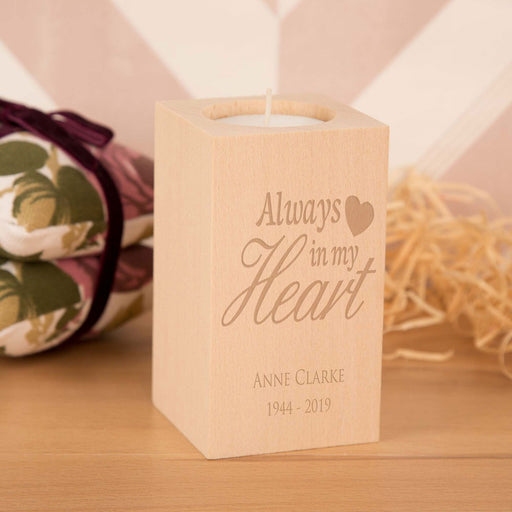 Personalised Always in my Heart Wooden Tea Light Holder