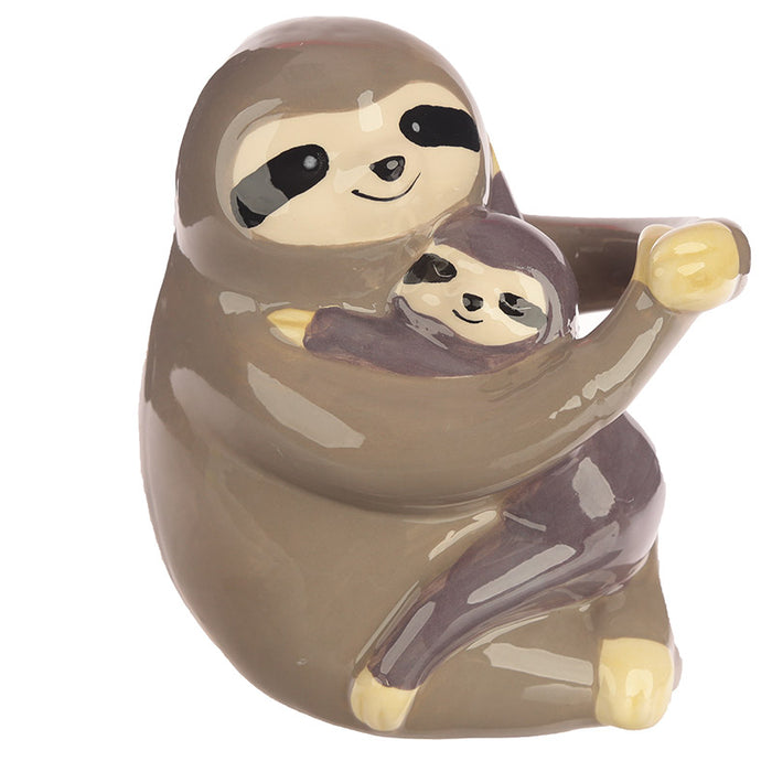 Just Hanging Around Ceramic Sloth and Baby Money Box