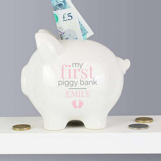 Personalised Baby Girls Piggy Bank from Pukkagifts.uk
