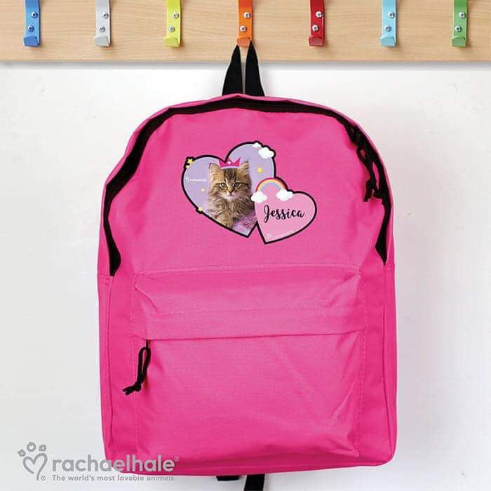 Personalised Rachael Hale Cute Cat Pink Backpack from Pukkagifts.uk
